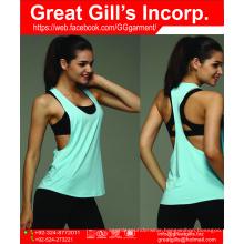 2016 Wholesale custom plain 100 cotton women gym yoga workout loose tank tops