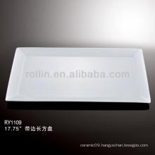 modern white rectangular rim porcelain plate