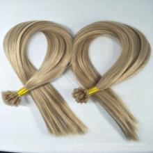 Pelo brasileño apretado rizado U / V / I / punta plana 100% clip de la Virgen en la extensión del pelo