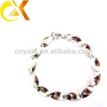 Senhoras ocasião presente bloqueio prata pulseira de aço inoxidável