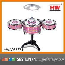 Plástico de alta qualidade crianças preto brinquedo miniatura tambor set