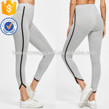 Grey Contrast Binding Curved Hem Heather Knit Leggings OEM/ODM Manufacture Wholesale Fashion Women Apparel (TA7016L)