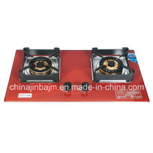 2 Burner Red Tempered Glass Build-in Gas Stove