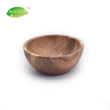 Cuenco redondo de madera maciza de acacia