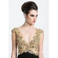 Deep V-Neckline Beaded Jersey Evening Dress