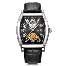 custom skeleton automatic leather mechanical mens watch