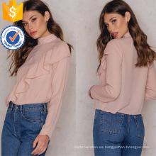 Nueva moda 2019 de manga larga con volantes rosa blusa de cuello alto Fabricación venta al por mayor de moda mujeres (TA0037B)