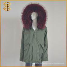 2017 venta al por mayor colorido falso chaqueta de piel de mujer Parka