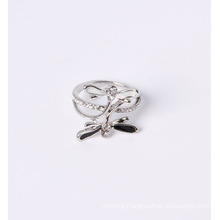 Rhodium Plated Fashion Jewelry Ring with Dragonfly