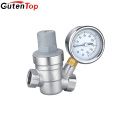 GUTENTOP factory Brass Lead-free C46500 for US market Nickel Plated Water Pressure regulator valve with Gauge