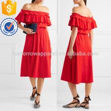 Poppy off-die-Schulter gekräuselte Baumwolle und Leinen-Mischung Kleid Herstellung Großhandel Mode Frauen Bekleidung (TA4091D)