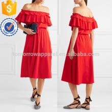 Poppy Off-the-shoulder con volantes de algodón y ropa de mezcla de lino manufactura venta al por mayor moda mujeres ropa (TA4091D)