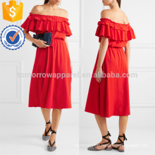 Poppy Off-the-shoulder Ruffled Cotton And Linen-blend Dress Manufacture Wholesale Fashion Women Apparel (TA4091D)