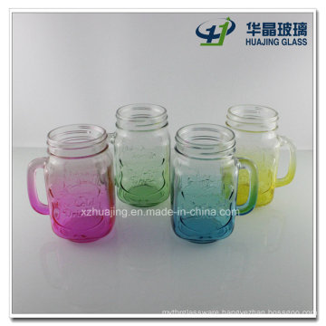 450ml 16oz Fancy Colorful Glass Mason Jar with Handle Wholesale