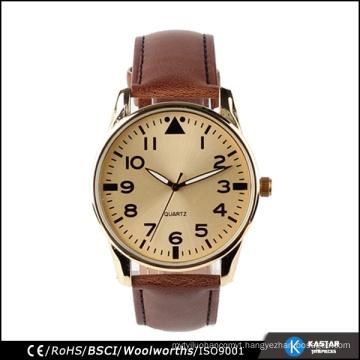 vintage stainless steel watch case PU strap watch