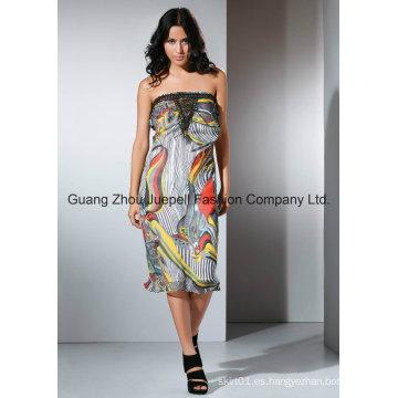 OEM Moda damas vestido Chifon Metal accesorio resumen impresión Strapless mujeres vestido
