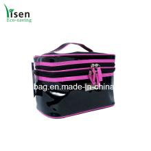 Высокое качество Черный патентной ПВХ косметическая сумка (YSCOS00-8334)