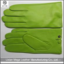 Nuevos hombres de lujo 100% Genuine Lambskin Green Color Cuero Guantes