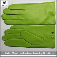 New Luxury Men 100% Genuine Lambskin Green Color Leather Gloves