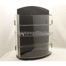 Cerradura de la tapa de la tabla de joyería tienda de venta al por menor tienda de demostración de doble cara de acrílico giratoria exhibición de la joyería