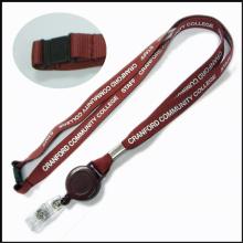 Lanière faite sur commande de support de bobine de badge d'insigne de carte nominative / d'identification de PVC avec le support d'ID (NLC007)