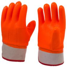 Gants enduits de PVC anti-froid orange fluorescent