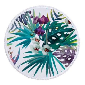 Supplier for China Manufacturer of Round Beach Towel,Round Towel,Roundie Beach Towel,Circle Beach Towel Microfiber Blue Hawaiian Plumeria Flowers Beach towels export to China Macau Factories