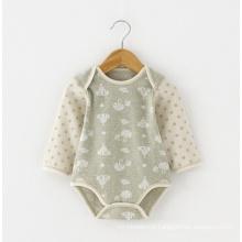 Jacquard Organic Cotton Baby Romper para o Verão