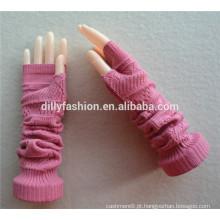 2016 novo design de malha tamanho livre comprimento do cotovelo rosa inverno sem dedos luvas de caxemira 100% atacado