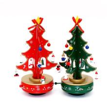 FQ marque vente chaude manivelle décoration arbre de noël cadeau en bois boîte à musique