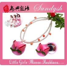 Linda princesa pequena jóia rosa rosa flor espelho colar para crianças