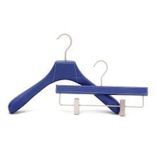OEM fashion design blue color leather coat hanger with logo