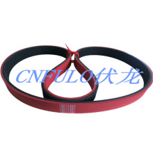Coating Rubber Timing Belt, Red Color, Hardness Shore a 55°