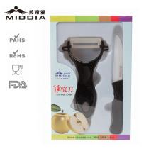 Juego de cuchillo de cerámica + pelador para fruta y verdura