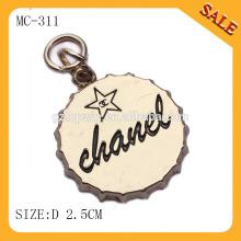MC311 Engraved custom logo jewelry metal tag charm,cute metal charm logo to hang