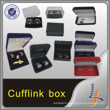 Nuevo logotipo personalizado de lujo Velvet Cheap Cufflink Box