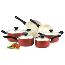 Nonstick Ceramic Coating 10-Piece Cookware Set, Red