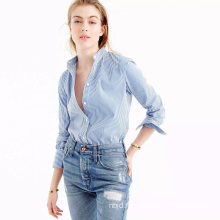 Gathered Front and Bracelet Sleeves Peasant Indigo Gauze Shirt
