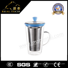 Творческая стеклянная чашка с силиконовой крышкой