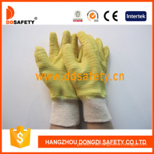 Guantes de arruga de látex amarillo, guantes de algodón con muñeca de punto (DCL410)