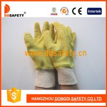 Gants froissés de latex de jaune, gants de coton avec le poignet tricoté (DCL410)