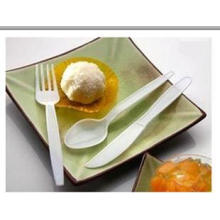White Disposable Plastic Cutlery , Individually Wrapped Pla