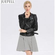Европа Новый тонкий женщин Двойная молния украшения PU куртки тепловоз промывают PU кожаная куртка пальто США