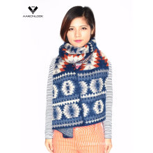 2016 Stylish Winter Aztec Jacquard Zigzag Pattern Fashion Scarf Feather Yarn