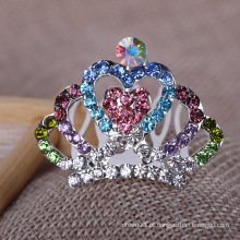 Tiaras de cristal Crianças coloridas Rhinestone Crown Combs
