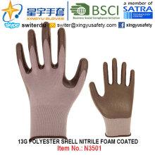 13G полиэфирные перчатки с покрытием из нитриловой пены (N3501) с CE, En388, En420, рабочие перчатки