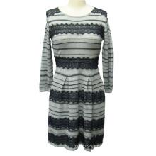 100% хлопок женщин трикотажные длинное платье свитер