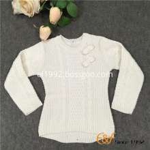 Long Sleeved Crew Collar Sweater with Cable Knitting