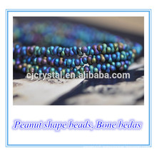 Newest design Peanut Shape lampwork bone glass beads 46*mm