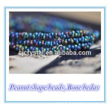 Os grânulos de vidro do osso do lampwork da forma do amendoim os mais novos 46 * mm